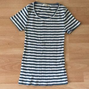 Madewell ribbed blue and white striped tee